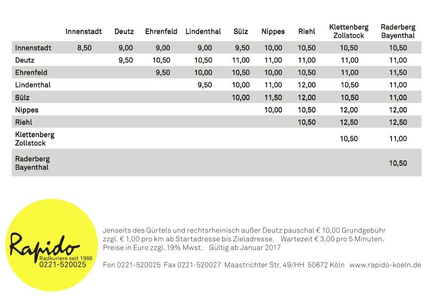 Festpreise Stand 01.01.2017
